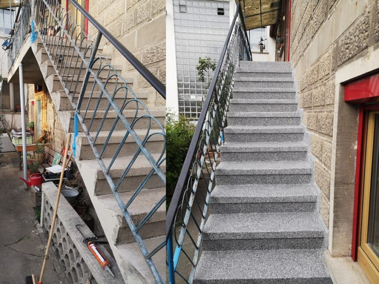 Ältere Treppe nach der Beschichtung