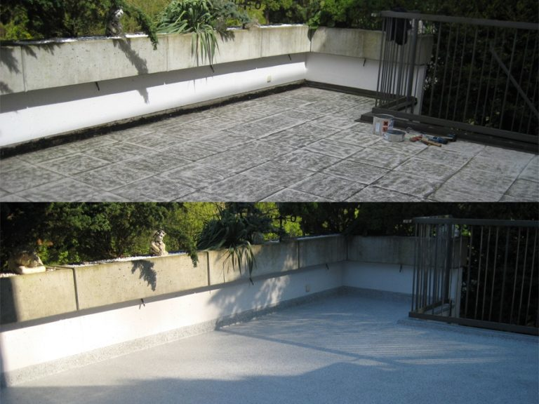 Geschliffener Altbelag vor der Abdichtung und fertige Terrassenbelag nach der Renovierung