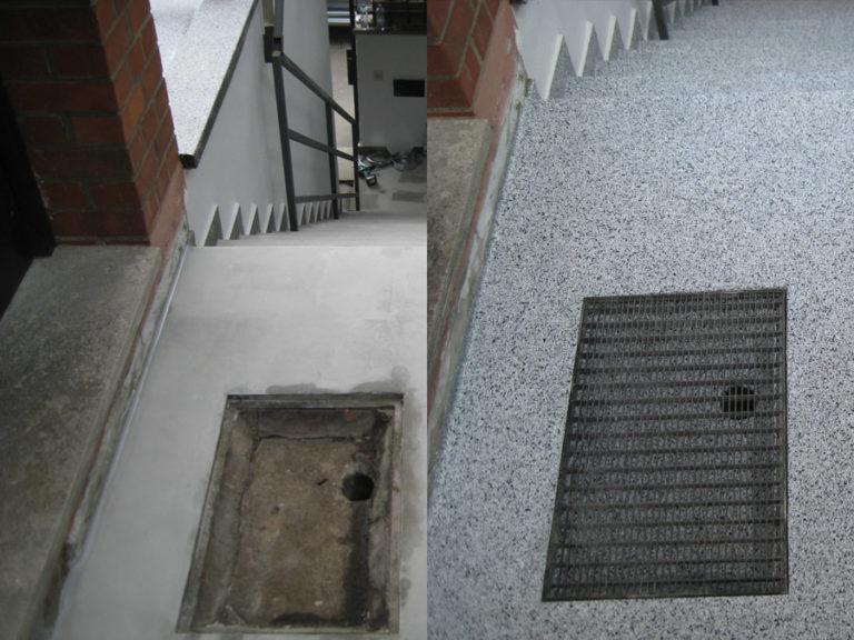 Maroder Eingangsbereich und undichter Kanalabfluss konnten durch die Beschichtung verschönert und abgedichtet werden