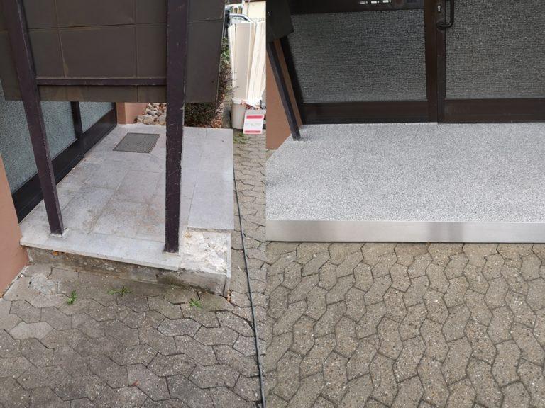 Treppenpodest nach der beschichtung Abstreifgitter verschlossen