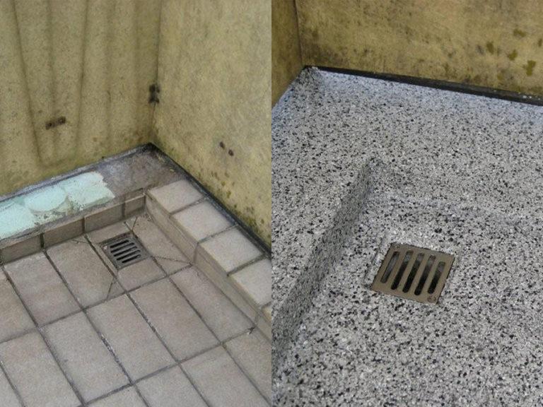 Vorher und Nachher-Vergleich des Sockel- und Abflussbereichs im Detail